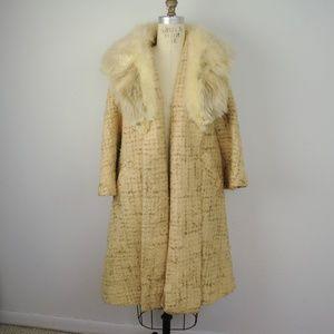 Vintage 60s Swing Coat Tweed Fur Collar